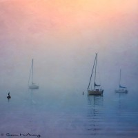 sailboats in fog square art print