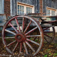 wood wagon cart in St Charles, Mo. art print