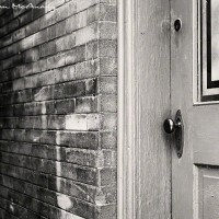 black and white vintage western doorway photograph
