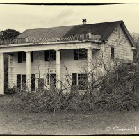 photograph of old Florida home in black and white