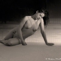 nude woman poolside art photo print