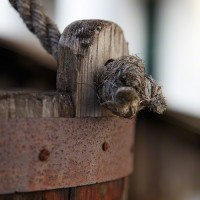 wood bucket and rope handle photo print