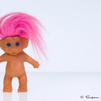 troll doll with pink hair