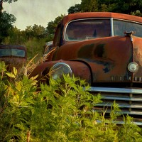 oldsmobile in field art print