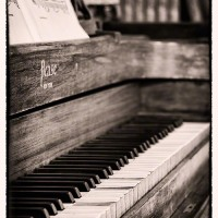 Vintage piano with sepia tint print