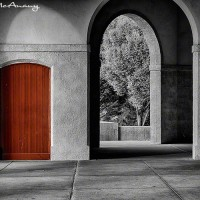 pavillion with arches and red door photo print