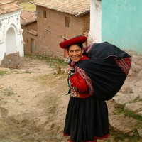 woman in Peru going to market art print