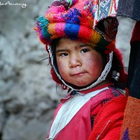 peruvian child in mountain village