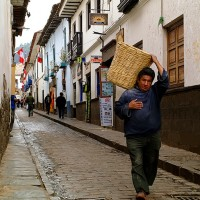 Cusco, Peru street and Peruvian man