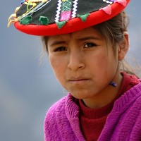 portrait of Peruvian mountain girl