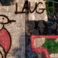 graffiti drawing of bird and laugh photograph