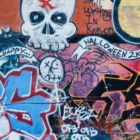 skull and shapes graffiti drawing photograph