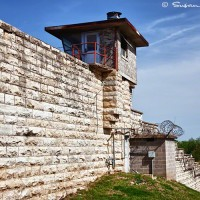 Prison guard house and wall