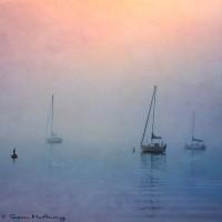 sailboats in fog square art print