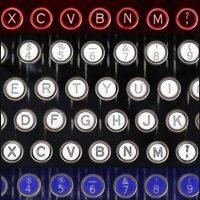 Red white and blue manual typewriter