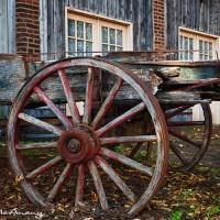 wood wagon cart in St Charles, Mo. art print