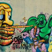 green bird and man graffiti art print