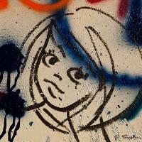 graffiti drawing of female face print