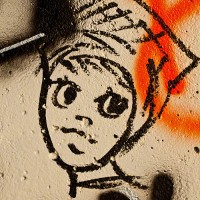 graffiti drawing of female head and face