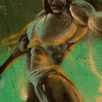 muscle man graffiti photograph