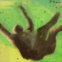 graffiti art drawing of falling man