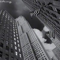 black and white art print of skyscraper buildings