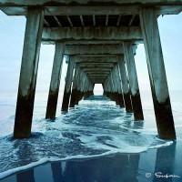 pier and atlantic ocean coastal art