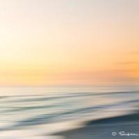 abstract photograph print of coastal water at sunset