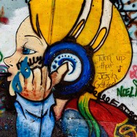 girl with headset graffiti art