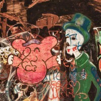 photograph of graffiti pig and ghost figures