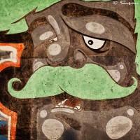 male face and lime green hair graffiti art photograph