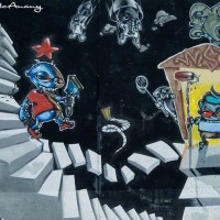 graffiti figures and scene art print