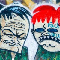 graffiti drawing of two male faces photograph