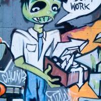 urban graffiti scene photograph